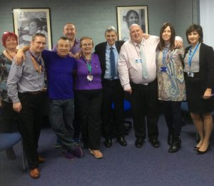 Dave and Darren with UNISON members at the opening of the Inspire Centre