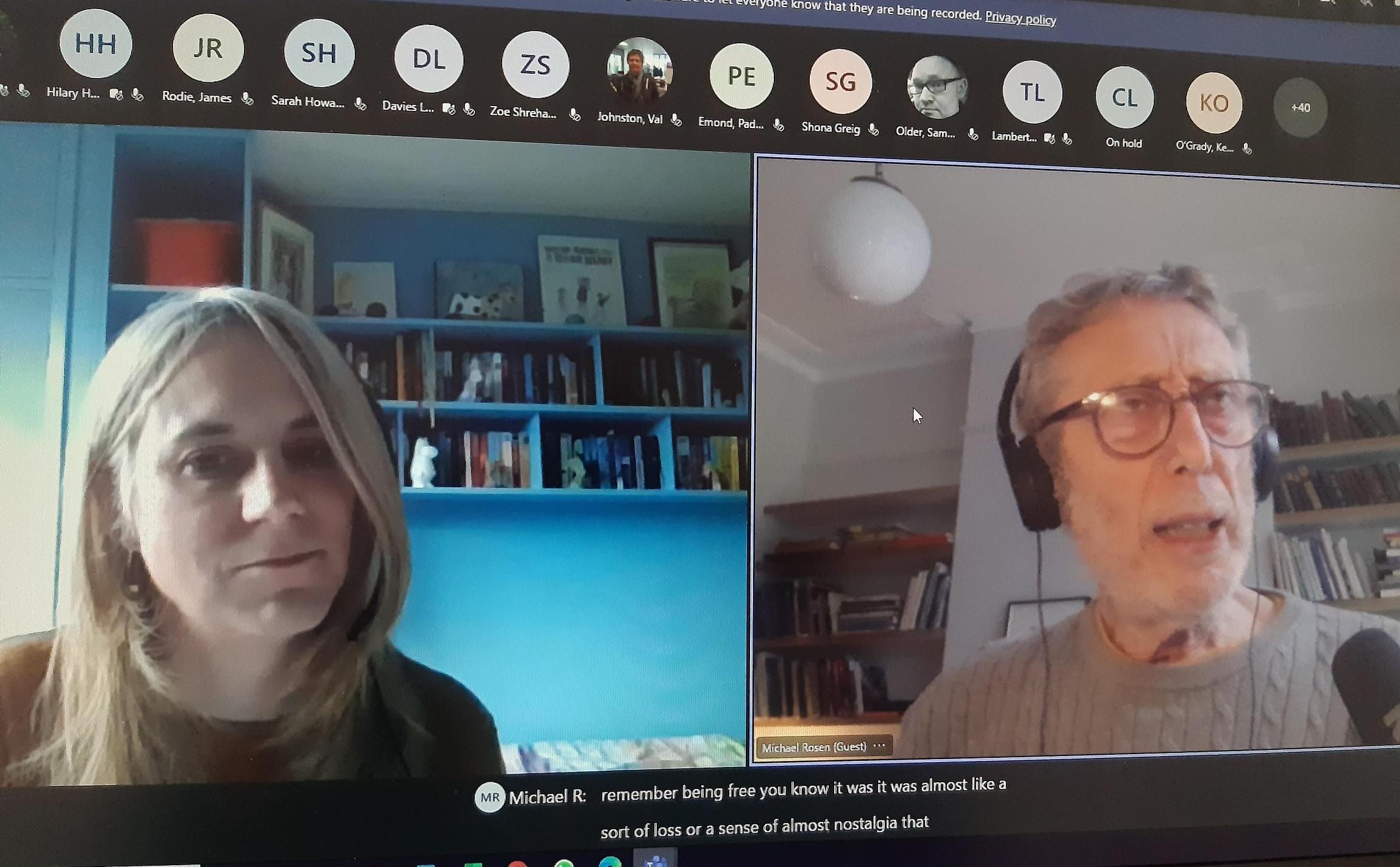 Sara Gorton and Michael Rosen on a Teams call