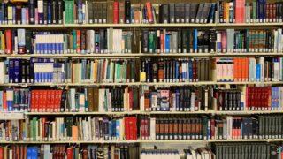 Shelves full of library books